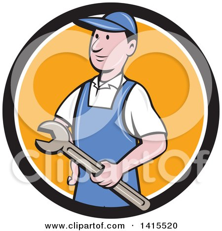 Retro Cartoon White Handy Man or Mechanic Holding a Wrench in a Blue White and Orange Circle Posters, Art Prints