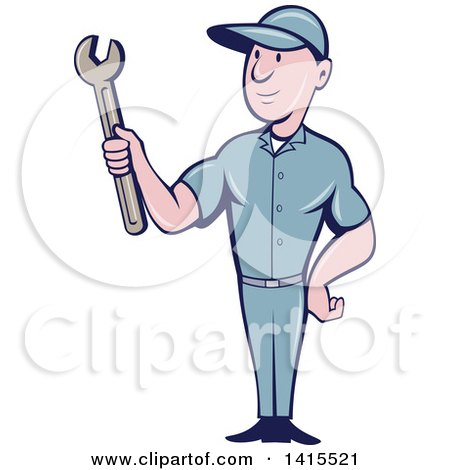 Clipart of a Retro Cartoon White Handy Man or Mechanic Holding a Spanner Wrench - Royalty Free Vector Illustration by patrimonio