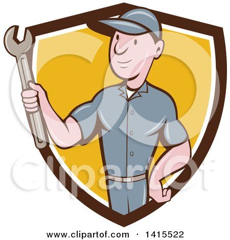 Clipart of a Retro Cartoon White Handy Man or Mechanic Holding a Spanner Wrench in a Blue White and Yellow Shield - Royalty Free Vector Illustration by patrimonio