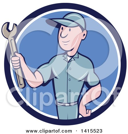 Clipart of a Retro Cartoon White Handy Man or Mechanic Holding a Spanner Wrench in a Blue and White Circle - Royalty Free Vector Illustration by patrimonio