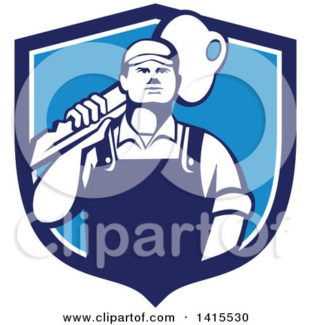 Clipart of a Cartoon Male Locksmith Carrying a Giant Gold Key over His Shoulder in a Blue and White Shield - Royalty Free Vector Illustration by patrimonio