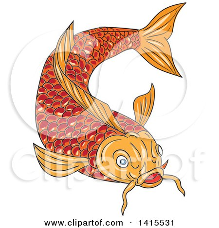 Clipart of a Sketched Orange Koi Fish Swimming - Royalty Free Vector Illustration by patrimonio