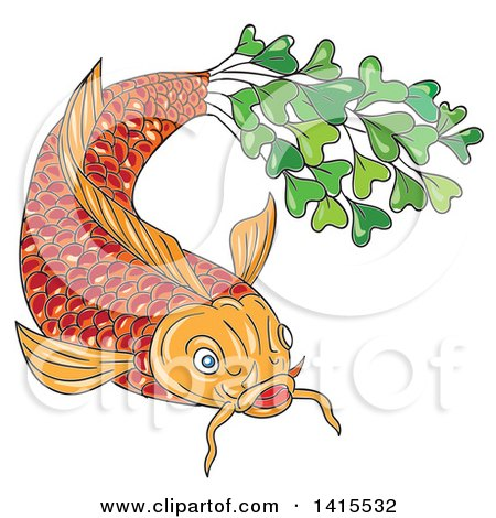 Clipart of a Sketched Orange Koi Fish with a Tail Made of Micro Greens - Royalty Free Vector Illustration by patrimonio