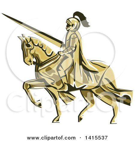 Clipart of a Retro Horseback Knight in Full Armor, Holding a Lance - Royalty Free Vector Illustration by patrimonio