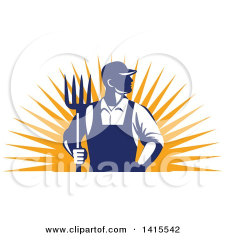 Clipart of a Retro Male Farmer or Worker Standing with One Hand in His Pocket and One Hand Holding a Pitchfork over an Orange Sun Burst - Royalty Free Vector Illustration by patrimonio