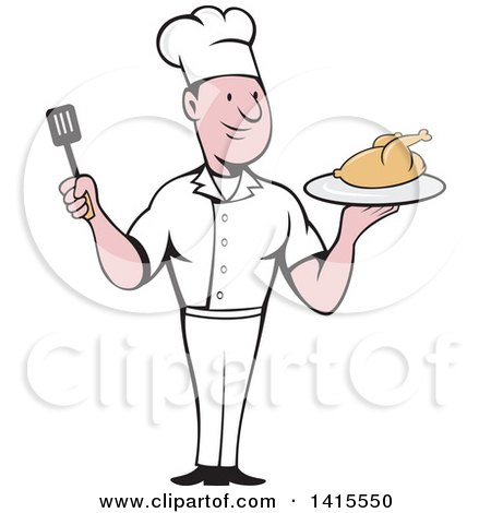 Clipart of a Retro Cartoon White Male Chef Holding a Spatula and Serving a Roasted Chicken - Royalty Free Vector Illustration by patrimonio