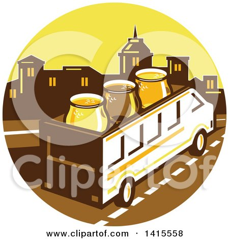 Clipart of a Retro Brew Tour Bus with Glasses on the Roof in a Town Skyline Circle - Royalty Free Vector Illustration by patrimonio