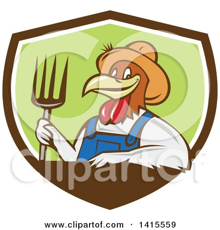 Clipart of a Retro Cartoon Farmer Rooster Chicken Man Wearing Overalls and a Straw Hat, Holding a Pitchfork in a Brown White and Green Shield - Royalty Free Vector Illustration by patrimonio
