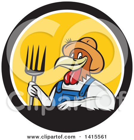 Clipart of a Retro Cartoon Farmer Rooster Chicken Man Wearing Overalls and a Straw Hat, Holding a Pitchfork in a Black White and Yellow Circle - Royalty Free Vector Illustration by patrimonio