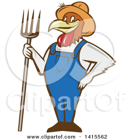 Clipart of a Retro Cartoon Farmer Rooster Chicken Man Wearing Overalls and a Straw Hat, Holding a Pitchfork - Royalty Free Vector Illustration by patrimonio