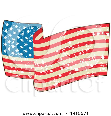 Clipart of a Waving American Flag with Grunge Splatters - Royalty Free Vector Illustration by patrimonio