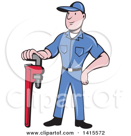 Retro Cartoon White Male Plumber or Handy Man Standing and Leaning on a Giant Monkey Wrench Posters, Art Prints