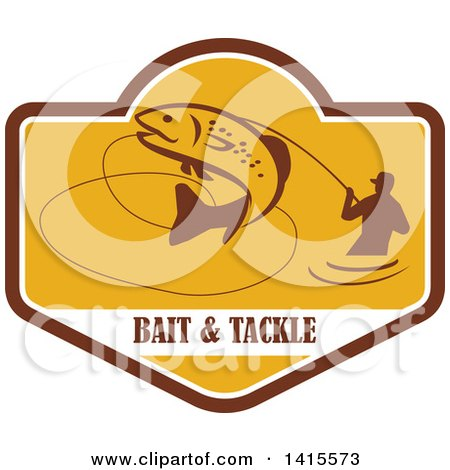 Clipart of a Retro Silhoeutted Wading Fisherman Reeling in a Jumping Trout in a Yellow Crest over Bait and Tackle Text - Royalty Free Vector Illustration by patrimonio