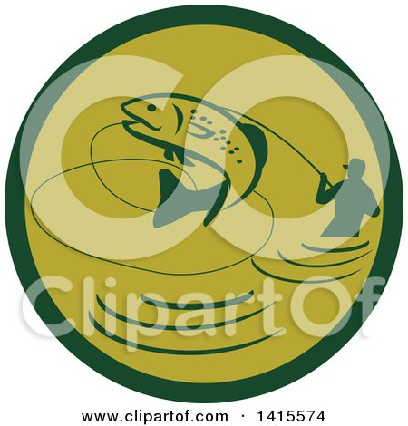 Clipart of a Retro Silhoeutted Wading Fisherman Reeling in a Jumping Trout in a Green Circle - Royalty Free Vector Illustration by patrimonio