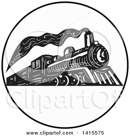 Clipart of a Retro Black and White Steam Engine Train in a Circle - Royalty Free Vector Illustration by patrimonio