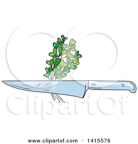 Clipart of a Sketched Chef Knife with Microgreens - Royalty Free Vector Illustration by patrimonio