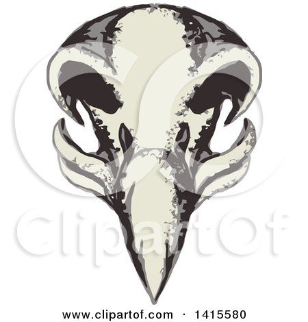 Clipart of a Retro Styled Eagle Skull - Royalty Free Vector Illustration by patrimonio