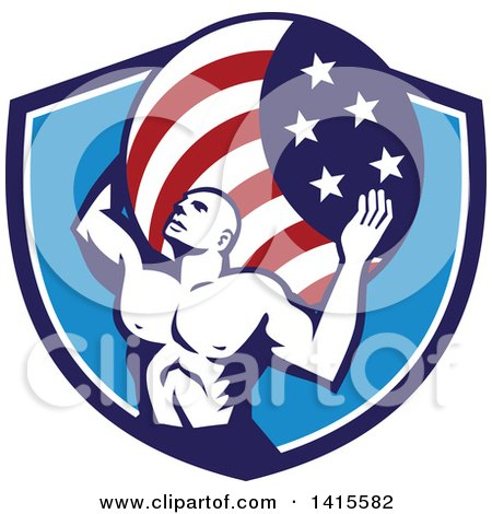 Clipart of a Retro Muscular Man, Atlas, Carrying an American Flag Globe on His Back in a Blue and White Shield - Royalty Free Vector Illustration by patrimonio