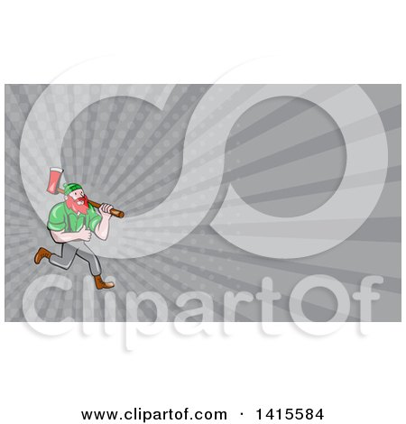 Clipart of a Cartoon Red Haired Lumberjack, Paul Bunyan, Running, Carrying an Axe and Giving a Thumb up and Gray Rays Background or Business Card Design - Royalty Free Illustration by patrimonio