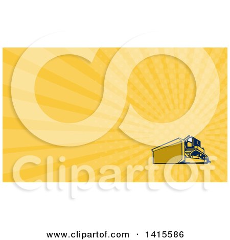 Clipart of a Retro Yellow and Blue Bulldozer Construction Machine and Yellow Rays Background or Business Card Design - Royalty Free Illustration by patrimonio