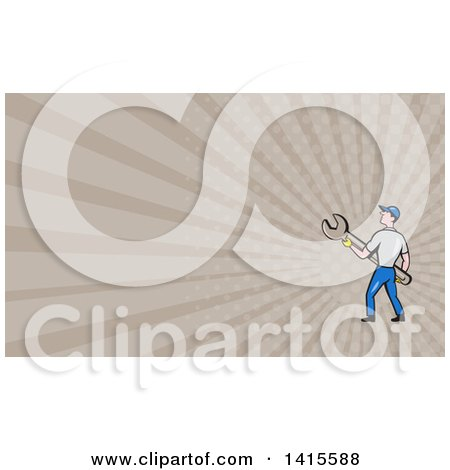 Clipart of a Retro Cartoon White Handy Man or Mechanic Holding a Giant Spanner Wrench and Rays Background or Business Card Design - Royalty Free Illustration by patrimonio