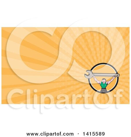 Clipart of a Retro Cartoon White Male Mechanic Squatting and Holding up a Giant Spanner Wrench and Orange Rays Background or Business Card Design - Royalty Free Illustration by patrimonio