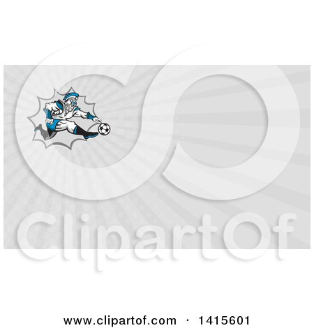 Clipart of a Retro Centurion Roman Soldier Soccer Player Kicking over a Burst and Gray Rays Background or Business Card Design - Royalty Free Illustration by patrimonio