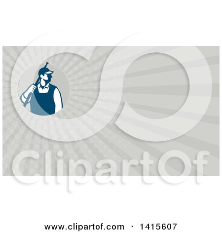 Clipart of a Retro Male Pressure Washer Worker Holding a Washing Gun and Gray Rays Background or Business Card Design - Royalty Free Illustration by patrimonio