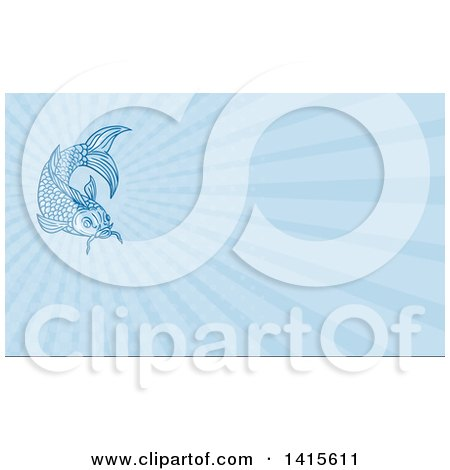 Clipart of a Sketched Blue Koi Fish and Blue Rays Background or Business Card Design - Royalty Free Illustration by patrimonio