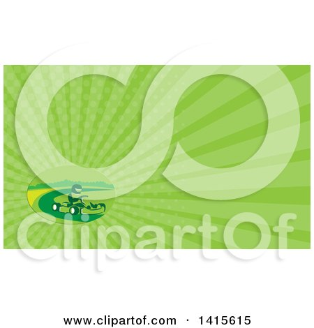 Clipart of a Retro Man Racing a Go Kart and Green Rays Background or Business Card Design - Royalty Free Illustration by patrimonio