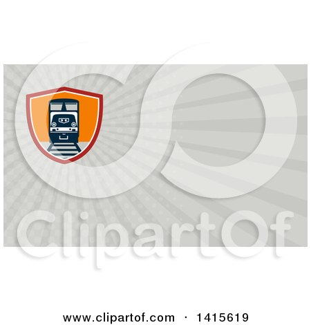 Clipart of a Retro Diesel Freight Train on a Track in a Shield and Gray Rays Background or Business Card Design - Royalty Free Illustration by patrimonio