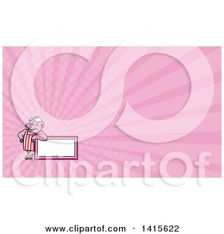 Clipart of a Retro Cartoon Butcher Pig Leaning on a Blank Sign and Pink Rays Background or Business Card Design - Royalty Free Illustration by patrimonio
