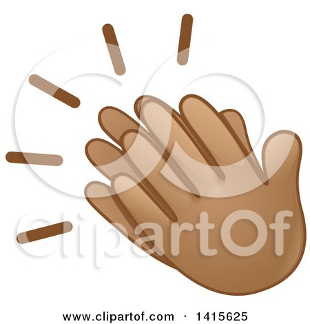 Clipart of a Pair of Clapping Emoji Hands - Royalty Free Vector ...