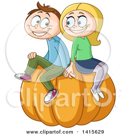 Clipart of a Cartoon Happy Caucasian Couple Sitting on a Giant Pumpkin - Royalty Free Vector Illustration by yayayoyo