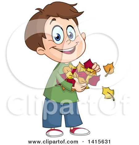 Clipart of a Cartoon Caucasian Boy Holding Autumn Leaves - Royalty Free Vector Illustration by yayayoyo