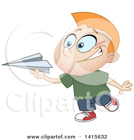 Clipart of a Cartoon Caucasian Boy Playing with a Paper Plane - Royalty Free Vector Illustration by yayayoyo