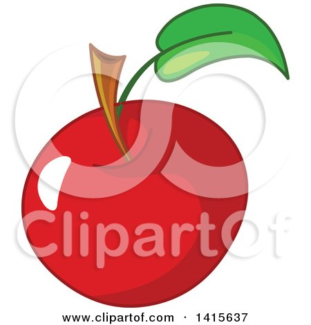 Clipart of a Shiny Red Apple - Royalty Free Vector Illustration by Pushkin
