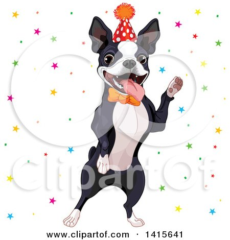Clipart of a Cute Boston Terrier Wearing a Party Hat and Dancing in Confetti - Royalty Free Vector Illustration by Pushkin