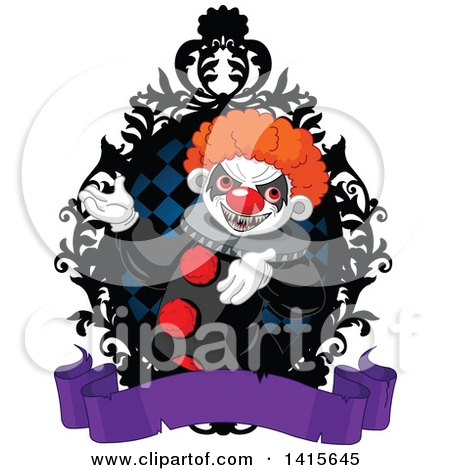 Creepy Clown Presenting Inside a Black Rame, over a Blank Purple Banner Posters, Art Prints