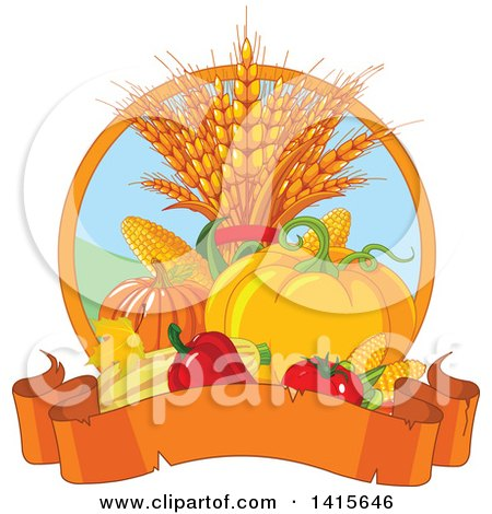 Still Life of Autumn Harvest Vegetables and Leaves with a Banner Posters, Art Prints