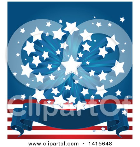 Clipart of a Patriotic American Themed Background with a Burst of Stars over Stripes and a Blank Banner - Royalty Free Vector Illustration by Pushkin