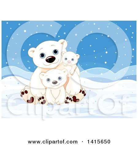 Clipart of a Cute Fathers Day Polar Bear Dad with Cubs in an Arctic Landscape - Royalty Free Vector Illustration by Pushkin
