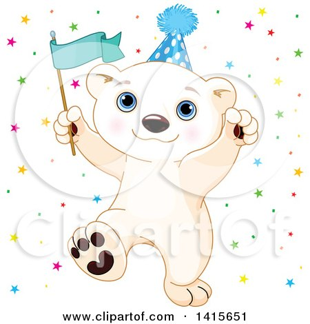 Clipart of a Cute Baby Polar Bear Cub Wearing a Party Hat, Holding a Flag and Celebrating - Royalty Free Vector Illustration by Pushkin