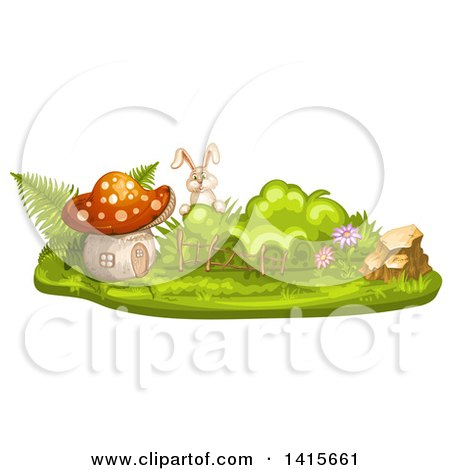 Clipart of a Rabbit and Mushroom House - Royalty Free Vector Illustration by merlinul