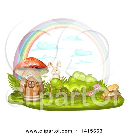 Clipart of a Mushroom House, Rabbit and Rainbow - Royalty Free Vector Illustration by merlinul