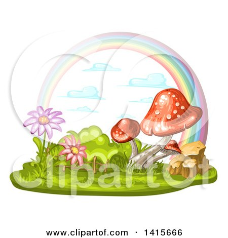 Clipart of a Group of Mushrooms, Flowers and Rainbow - Royalty Free Vector Illustration by merlinul