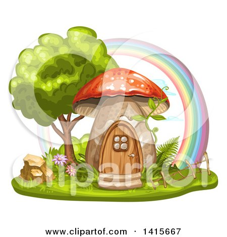 Clipart of a Mushroom House and Rainbow - Royalty Free Vector Illustration by merlinul