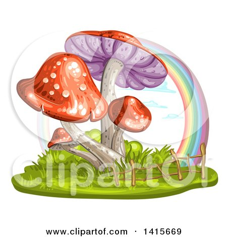 Clipart of a Group of Mushrooms and Rainbow - Royalty Free Vector Illustration by merlinul
