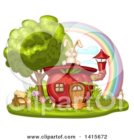 Clipart of a Tomato House and Rabbit with a Rainbow - Royalty Free Vector Illustration by merlinul