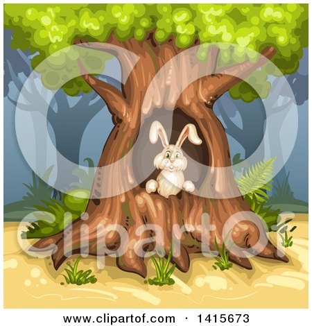 Clipart of a Rabbit in a Tree Hollow - Royalty Free Vector Illustration by merlinul